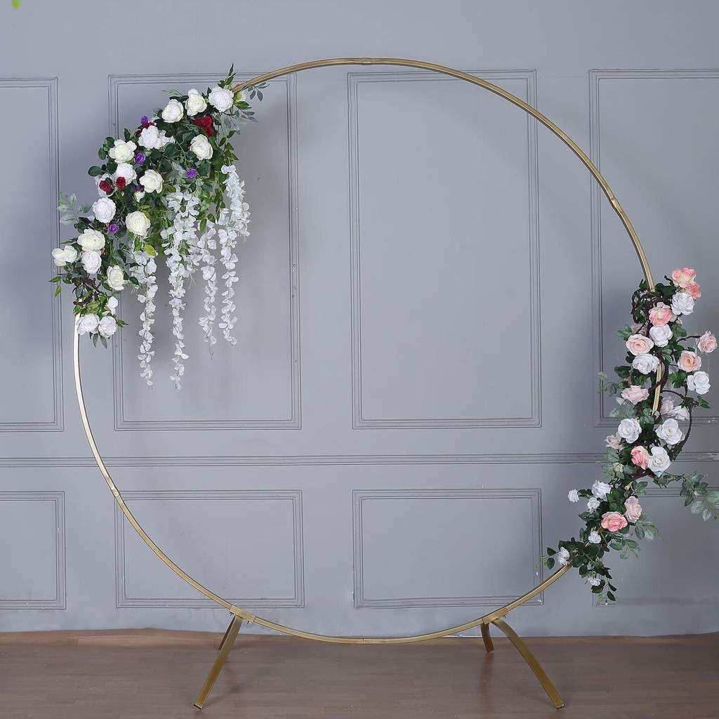 7ft tall gold round metal wedding arch photo booth