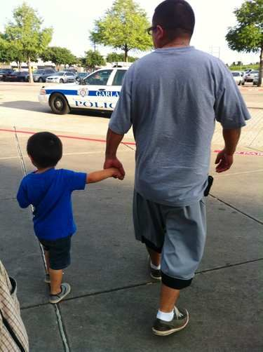 The Law making sure nobody gets out of line when me & lil Sanchez are out and about