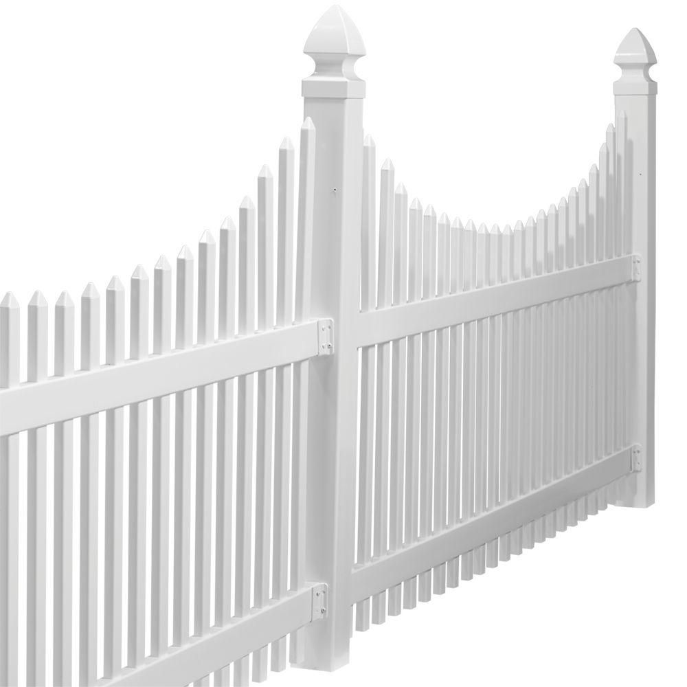 Veranda Chatham 4 Ft H X 8 Ft W White Vinyl Scalloped Top Spaced Picket Fence Panel Unassembled 128005 The Home Depot Picket Fence Panels Fence Panels Vinyl Fence Panels