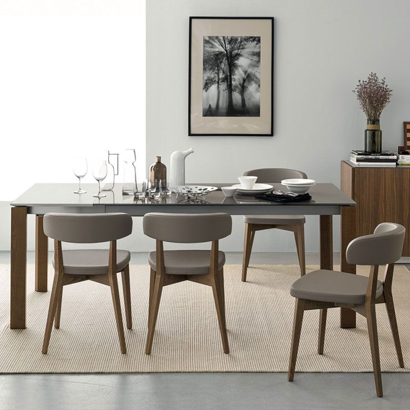Eminence Extending Table By Connubia Calligais Taupe Glass And Walnut Dining Table Dining Chairs Faux Leather Dining Chairs Leather Dining Chairs