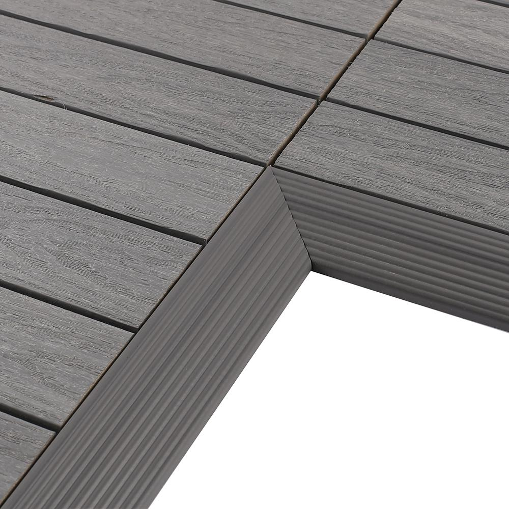 Newtechwood 1 6 Ft X 1 Ft Quick Deck Composite Deck Tile Inside Corner In Westminster Gray 2 Pieces Box Qd If Gy The Home Depot Deck Tile Composite Decking Outdoor Deck Tiles