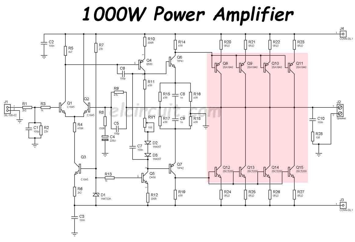 1000W Power Amplifier 2SC5200 2SA1943, 2019 | Circuits on