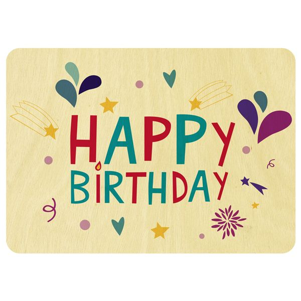 Fireworks Happy Birthday wooden card Scoops products – Birthday Card Gift