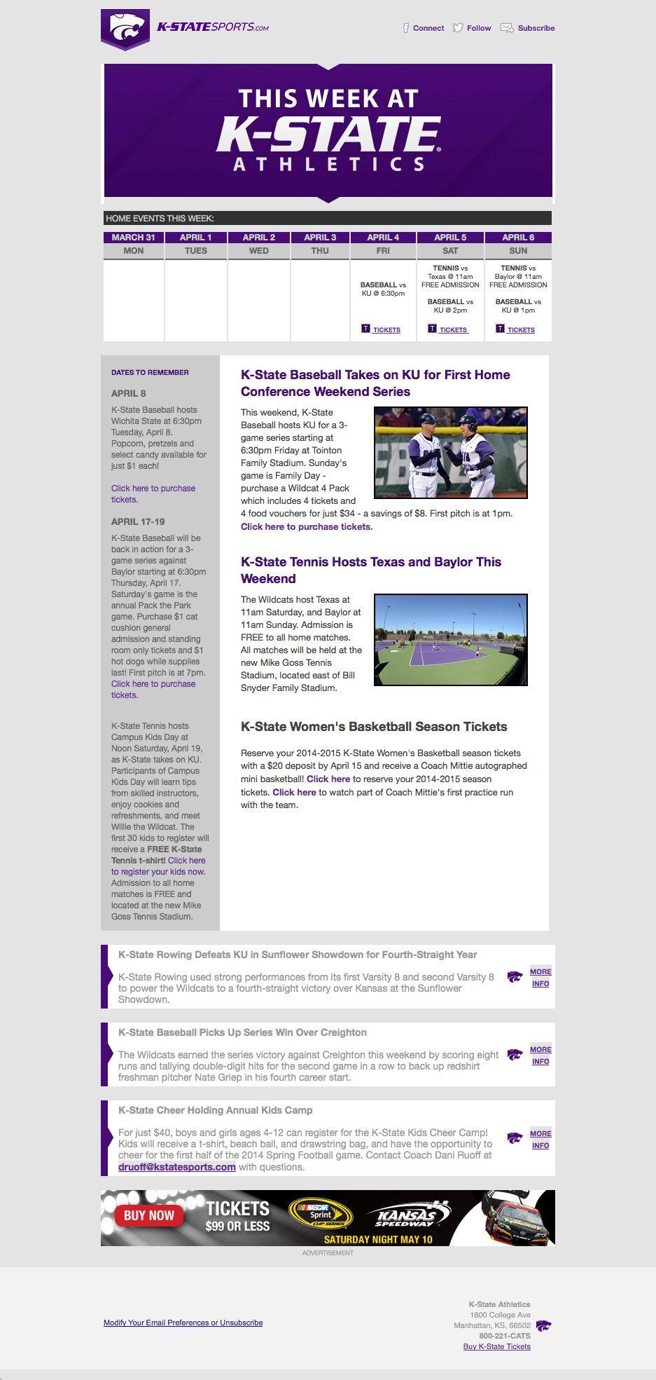 """Kansas State """"This Week At KState Athletics"""" newsletter"""