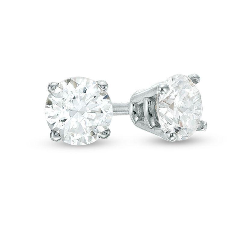 1 4 Ct T W Diamond Solitaire Stud Earrings In 10k White Gold Zales Outlet White Diamond Earrings Diamond Earrings Studs Stud Earrings