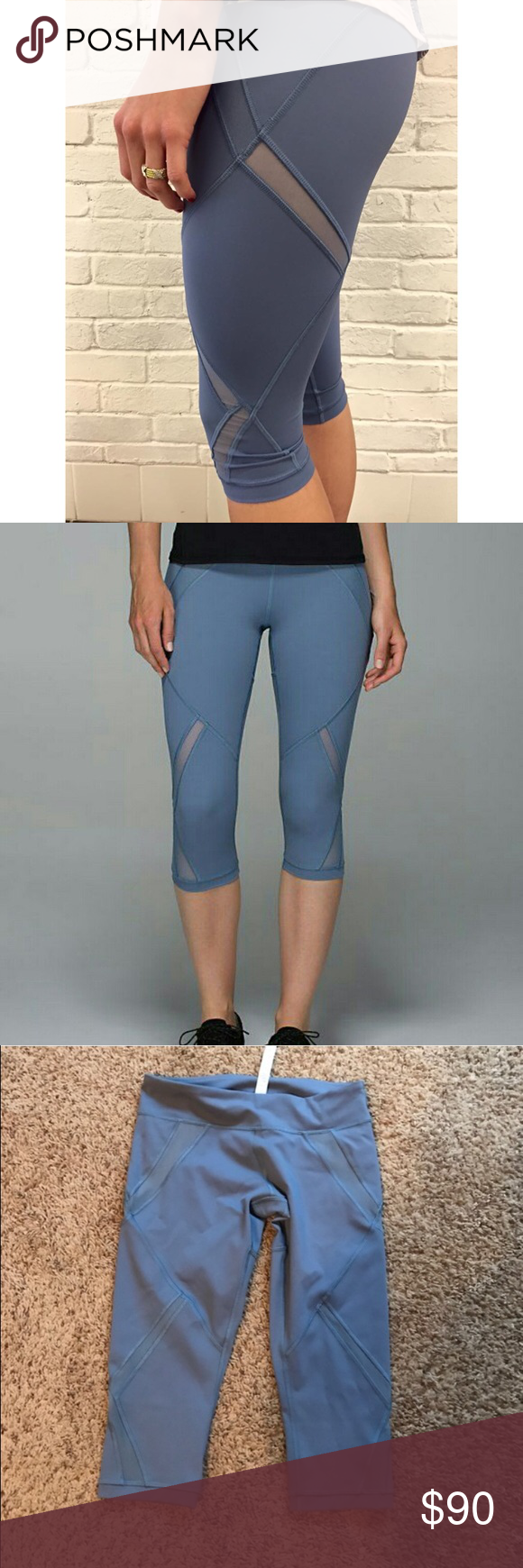 """NWOT Lululemon Cool to Street Crop Denim. Blue Cool to Street Crops in Denim Blue.  Knee-length crop.  Sweat-wicking Luxtreme fabric.  Added LYCRA fibre with contoured Mesh fabric ventilation.  Waistband pocket.  Chafe-resistant flat seams. Tight fit.  Medium rise.  17"""" inseam. lululemon athletica Pants"""