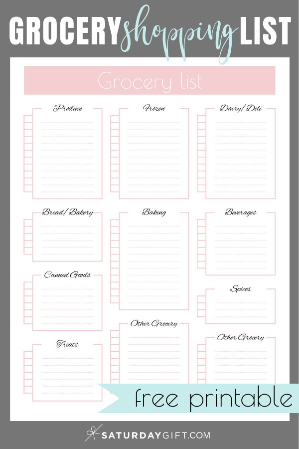 Cute Printable Grocery Shopping List To Simplify Your Shopping Grocery List Printable Free Shopping List Grocery Grocery List Printable
