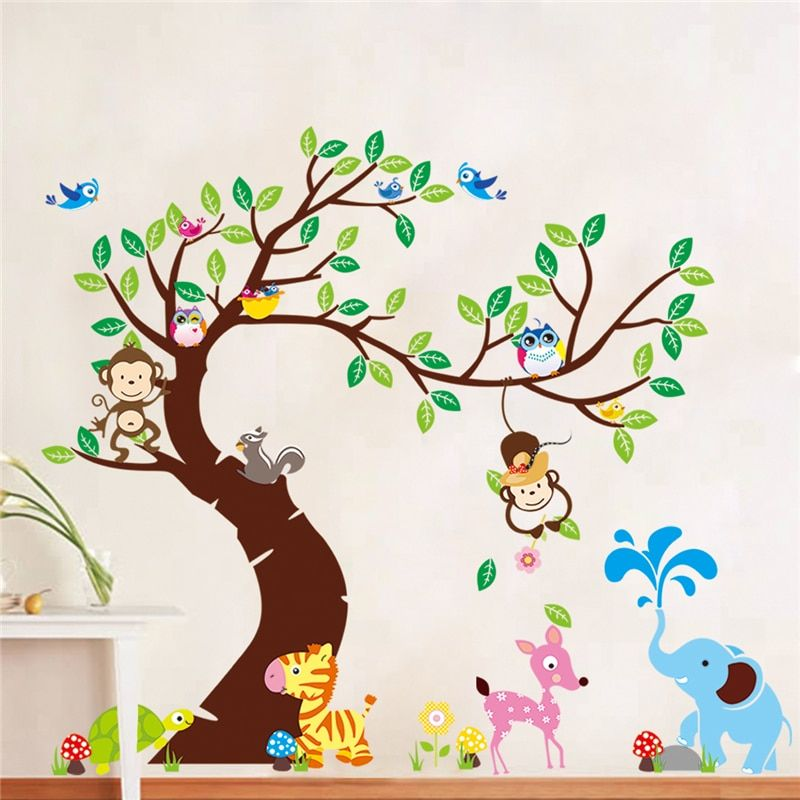 Tree And Monkey Wall Sticker Children Room Background Wall Sticker Zypa 1214 Diy Decoration Nursery Daycare Baby Room Decor In 2020 Art Wall Kids Monkey Wall Stickers Kids Wall Decals