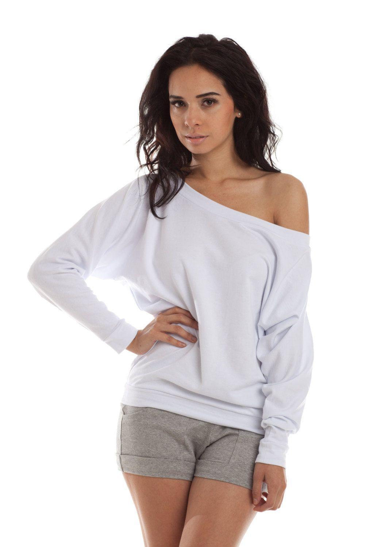 eb9387b7 Oversized Dolman Sweater - Off Shoulder Sweatshirt, Dolman Top White.  $44.00, via Etsy.