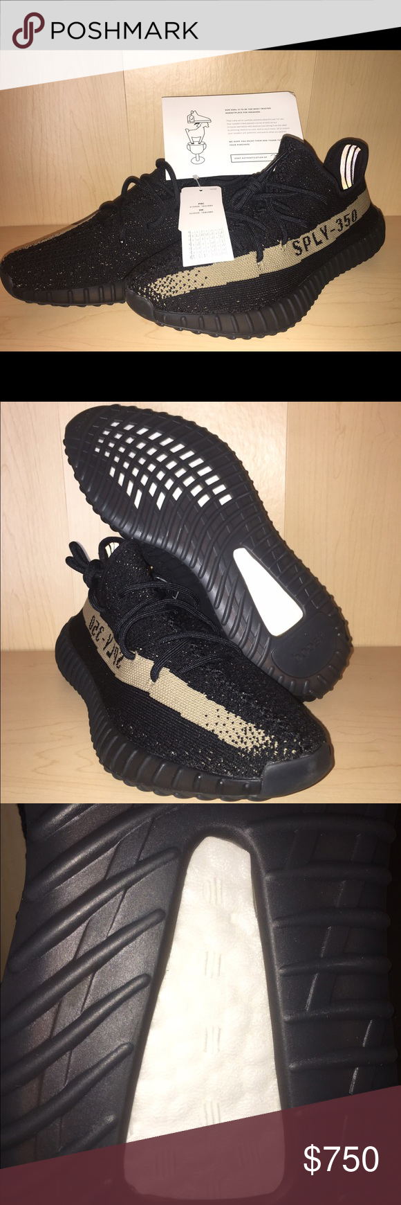 a80dfe88e Yeezy boost 350 v2! Adidas Yeezy boost 350 v2 core black green color wave.  Dead stock with tags! Goat certified! Men s size 10 women s size 12. All ...