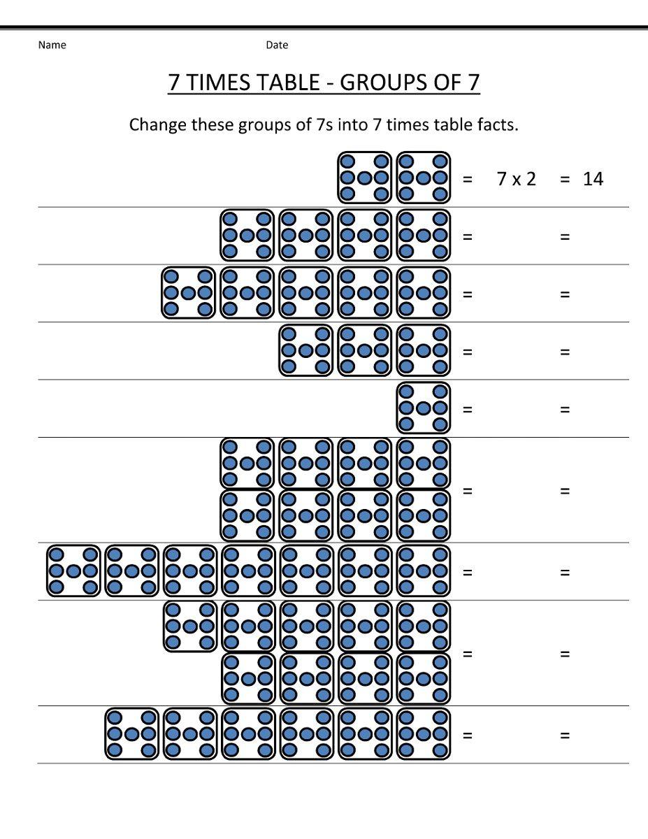 7 Times Table Worksheet Multiplication Kids Learning