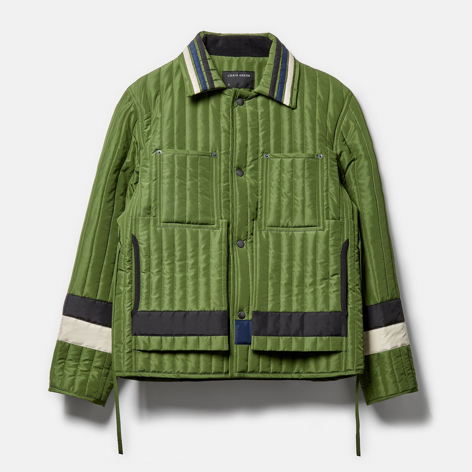 Craig Green Panelled Quilted Worker Jacket Khaki Quilted Jacket Men Mens Fashion Cardigan Jackets