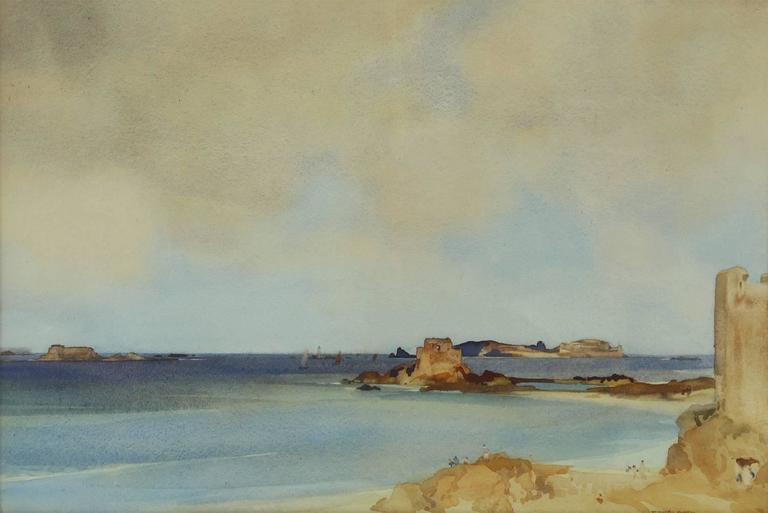 William Russell Flint Landscape Drawing Watercolor The Bay Of
