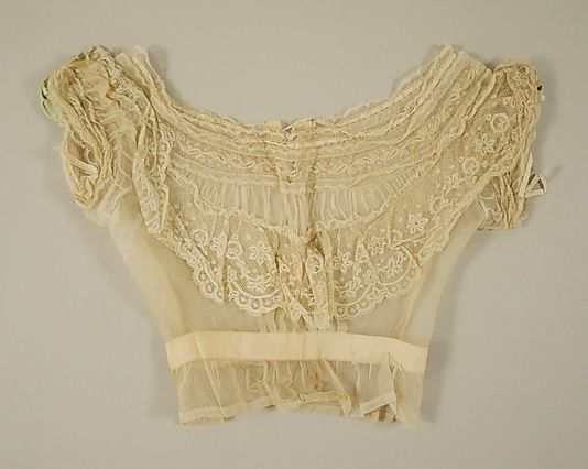 Bodice    Date:      ca. 1860  Culture:      American or European  Medium:      cotton, silk  Dimensions:      Length (from shoulder, about): 16 in. (40.6 cm)  Credit Line:      Gift of Mrs. Janos Scholz (Helen Marshall), 1978