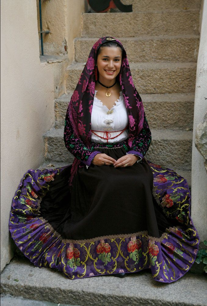 italian woman in traditional costume from sardinia world
