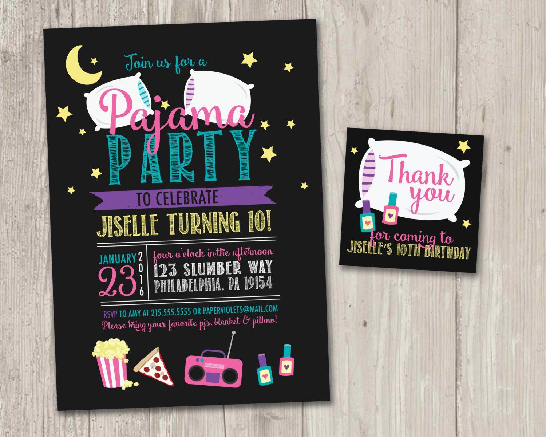 Pajama Party Invitation | Slumber Party Invitation | Sleepover Party ...