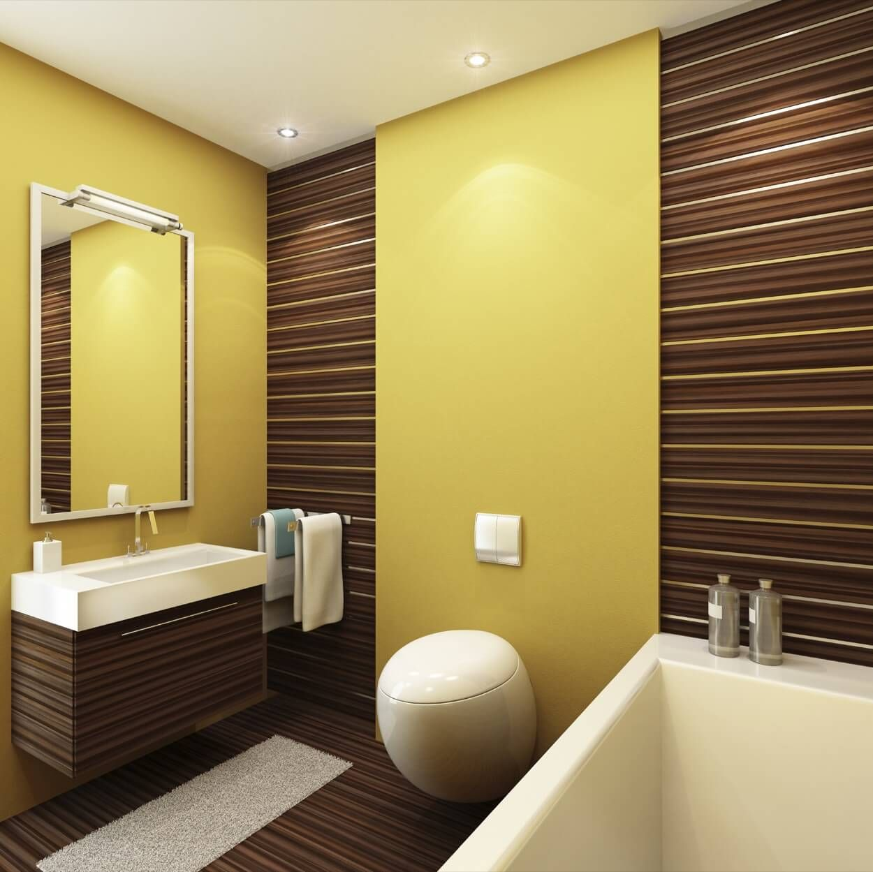 Yellow And Brown Striped Walls With Single Sink | Bathroom Ideas ...