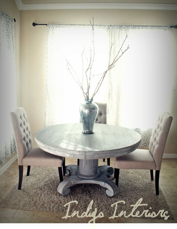 Vintage Gray And White Washed Round Pedestal Dining Kitchen Table