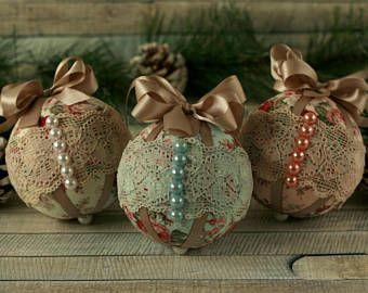 shabby chic christmas ornaments christmas decorations handmade vintage christmas lace ornaments bauble set fabric christmas baubles - Handmade Shabby Chic Christmas Decorations