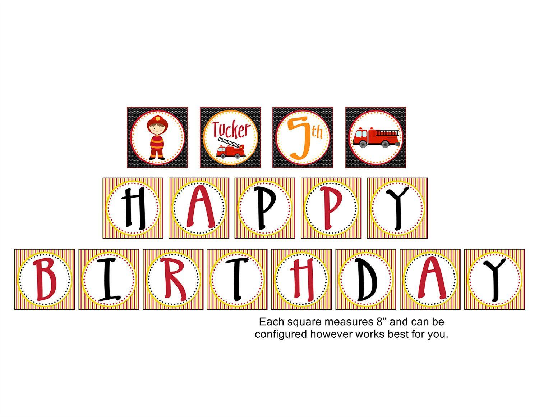 Fire Truck Fire Kids Birthday Banner Personalized Happy Birthday