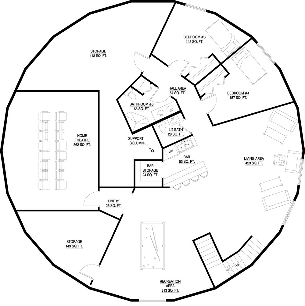 a cool round home floor plan part 2 deltec homes floorplan gallery round floorplans custom floorplans - Floor Plans For Round Homes