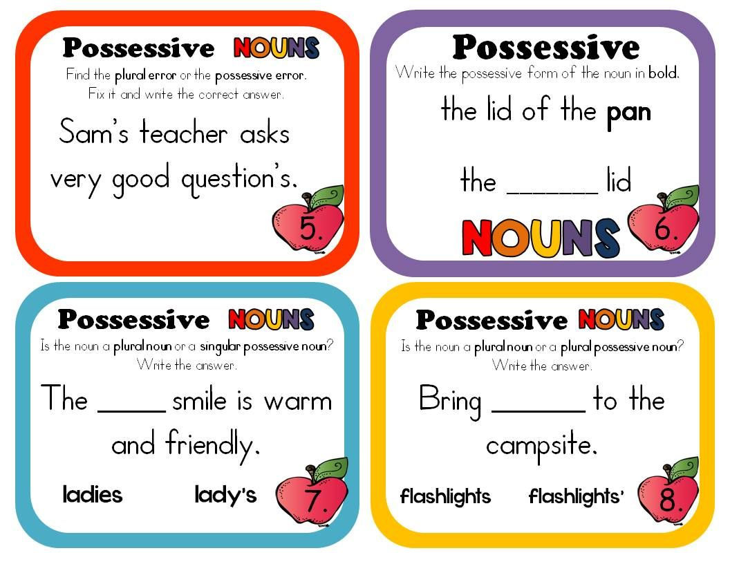 POSSESSIVE NOUNS - 47 Task Cards or Worksheets (ELA Assessment or ...
