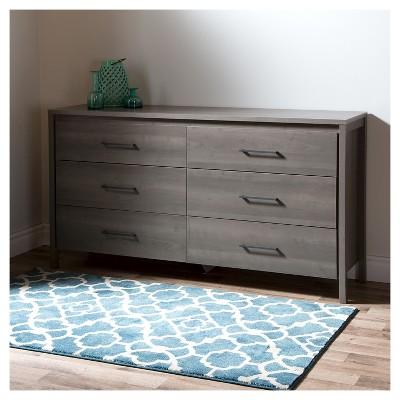 Gravity 6 Drawer Dresser Gray Maple South Shore, Grey