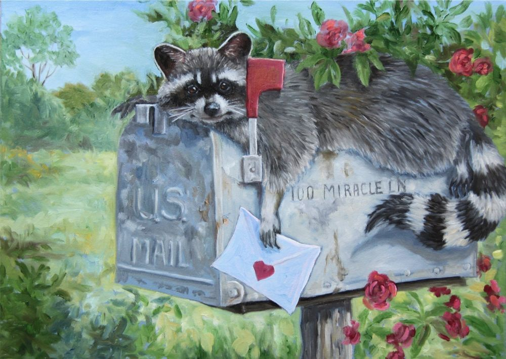 "Raccoon mailbox roses 5/""X7/"" prints  from original oil by Joy Campbell"