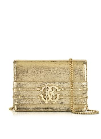 new product 17b66 80527 Roberto Cavalli - Mirror Gold Leather Clutch   Bags   Cuir ...