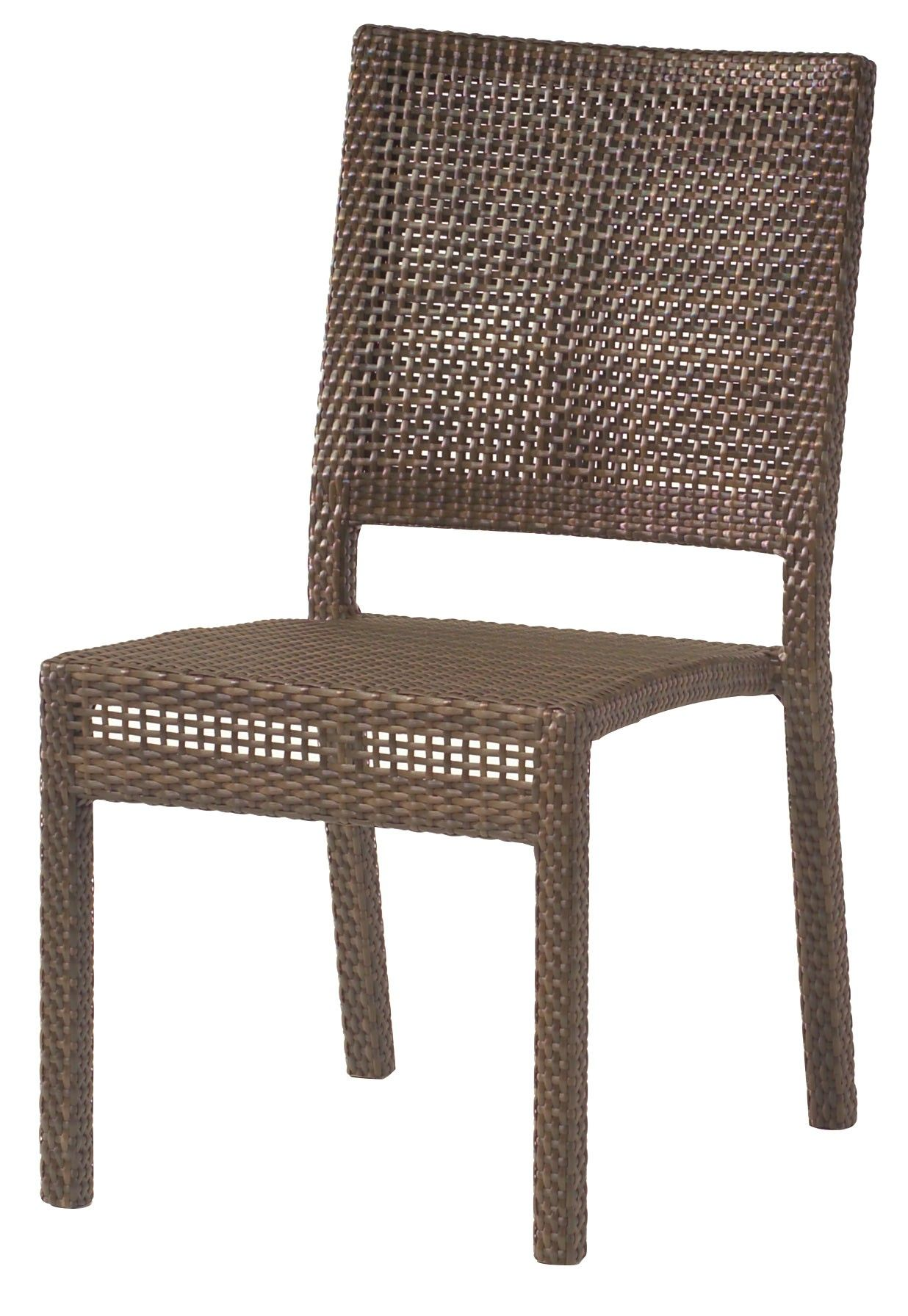 "Woodard Outdoor - All-Weather Miami Dining Side Chair - Stackable #S601511 Quick Overview: Available in Coffee or Mocha weave only. material: Woven HDPE Height: 35"" Width: 18"" Depth: 24"""