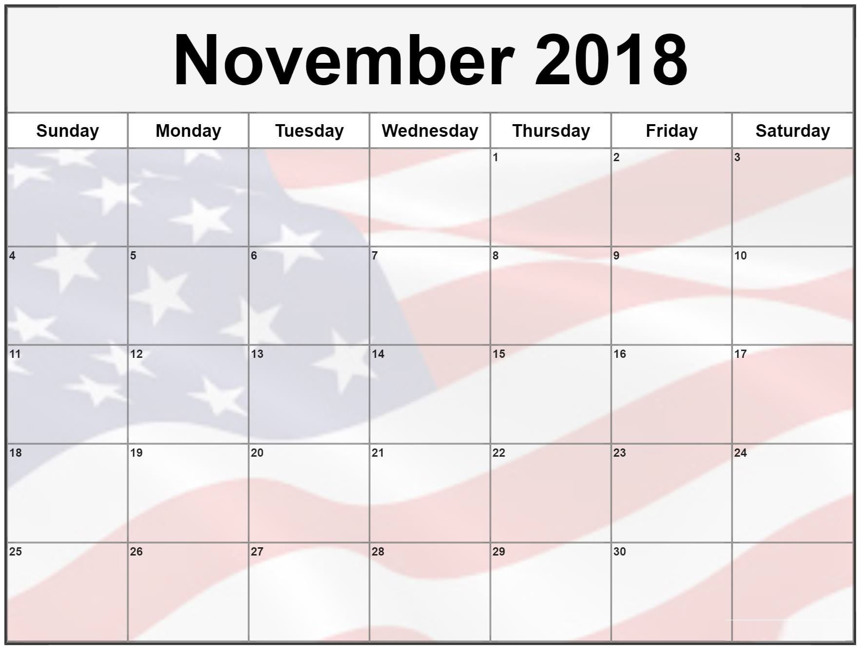 print november 2018 us calendar