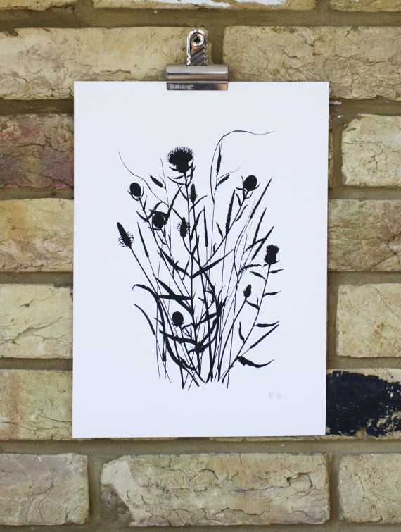 Limited edition screen print, hand printed art, wild grasses and