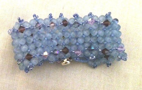 Childs Blue Cats Eye and Purple Swarovski Bracelet