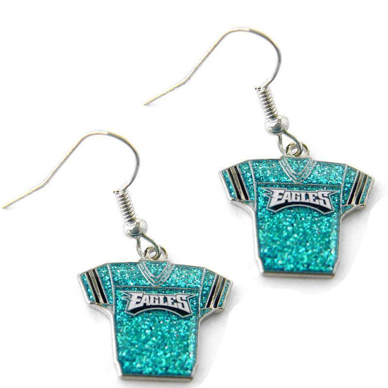 Philadelphia Eagles Glitter Jersey Dangle Earrings