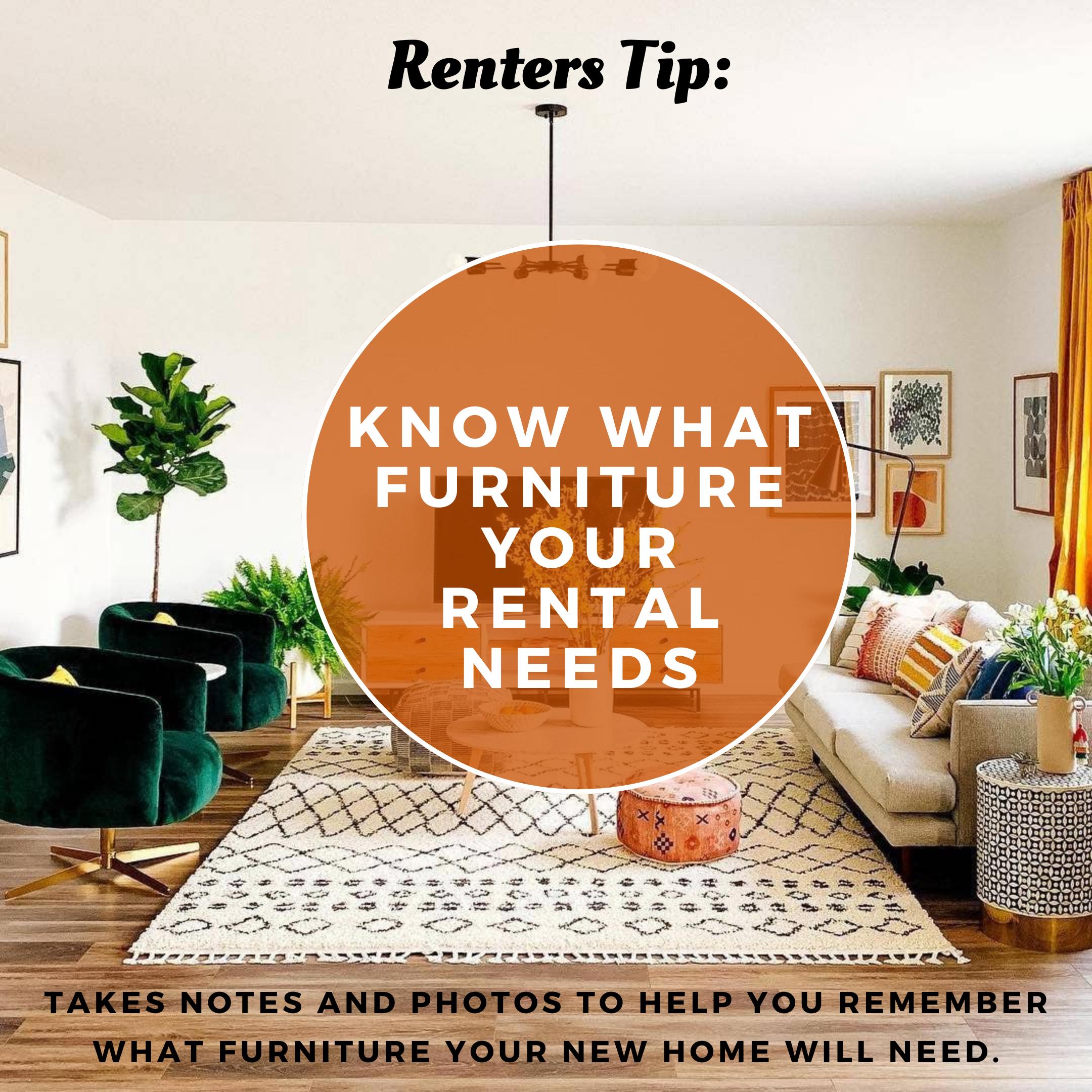 3 Know What Furniture Your Rental Needs House Rental Furniture Renter Hacks