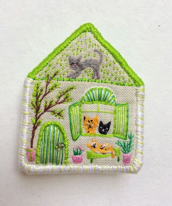 Pet Brooch The Cat house hand embroidered textile by MakikoArt