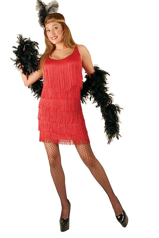 Plus Size Red Flapper Dress Clipart