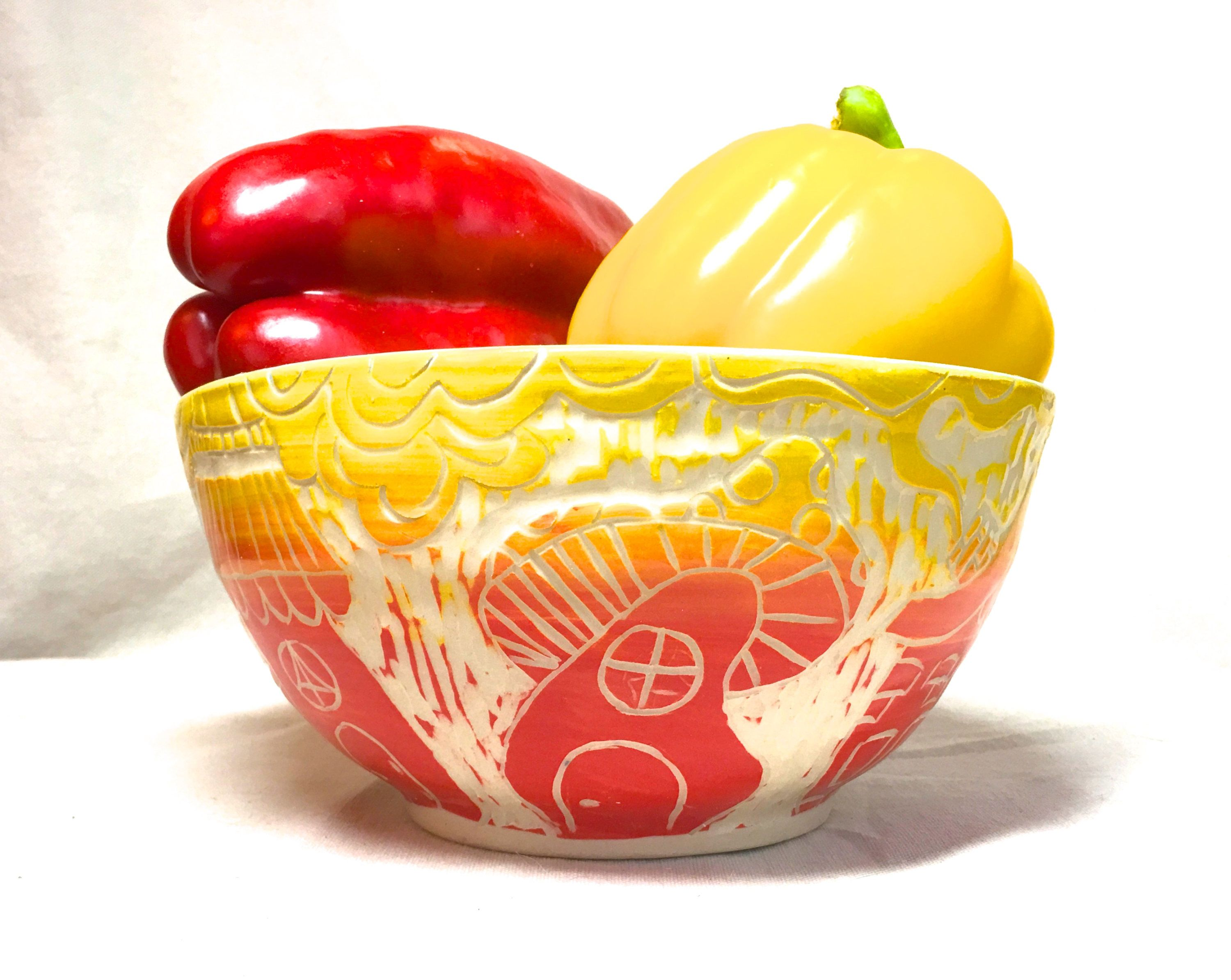 Large Serving Bowl Whimsical Ceramic Red Yellow Houses Mixing Salad Fruit Hand Carved Pottery Wedding Gift Anniversary By Funnfiber On Etsy