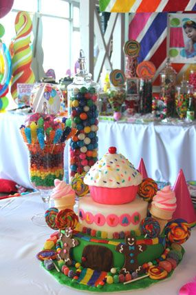 Candy Land First Birthday Party Dessert Table Backdrop With Candy