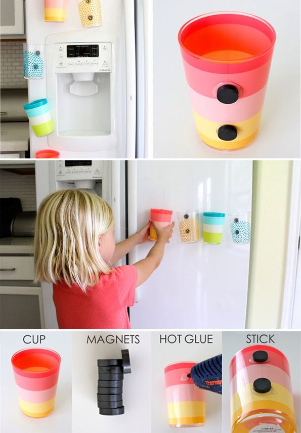 DIY: Fridge magnet cups