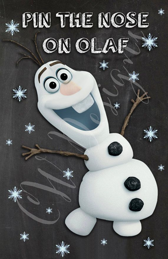 Pin the Nose On Olaf Frozen Party Game PRINT by CWDesignsCO $10 00 Frozen birthday party