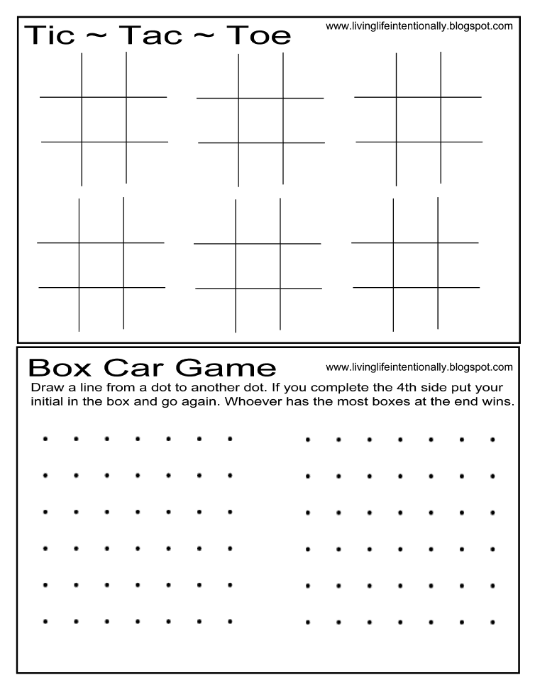 TicTacToe  Box Game Printable  Road Trip With Kids