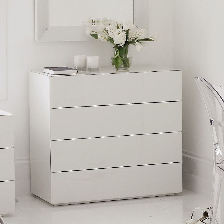 Ikea Nordli Dresser High Gloss White Glass - Carlton 4 Drawer Chest Of Drawers