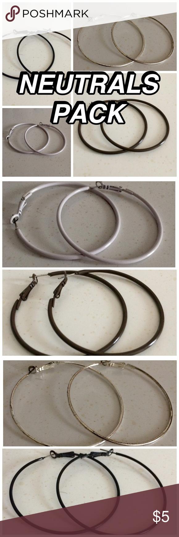 Hoop Earrings Pack of 4 hoop earrings. Colors: black, white, silver, dark brown BOGO50 Jewelry Earrings