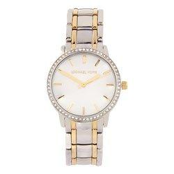 Reloj de plata con detalles dorados