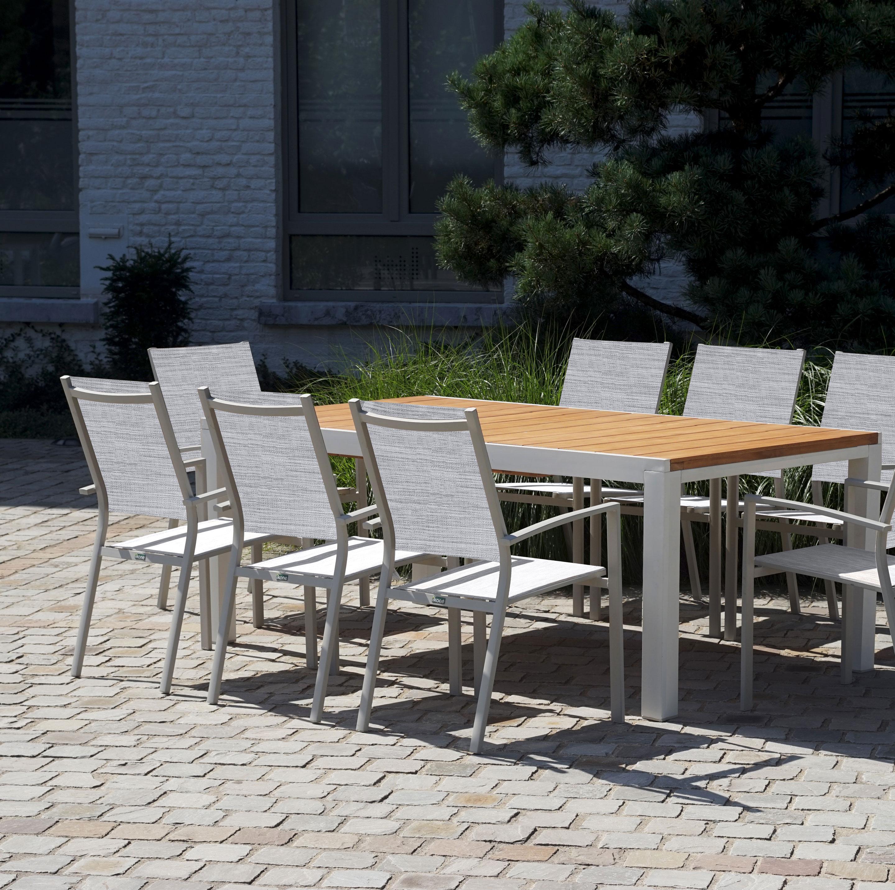 Claustra Alu Leroy Merlin salon de jardin eze aluminium brun marron, 8 personnes