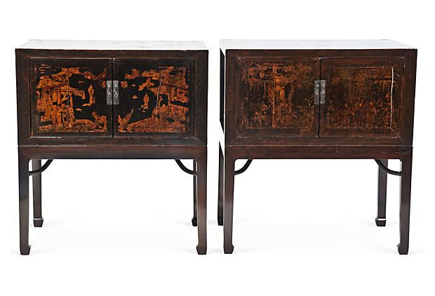 3 Brocante Bijzettafeltjes.Asian Lacquered Chests Pair On Onekingslane Com