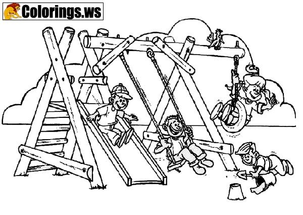 Playground 9 | Playground Coloring Pages | Park playground coloring ...