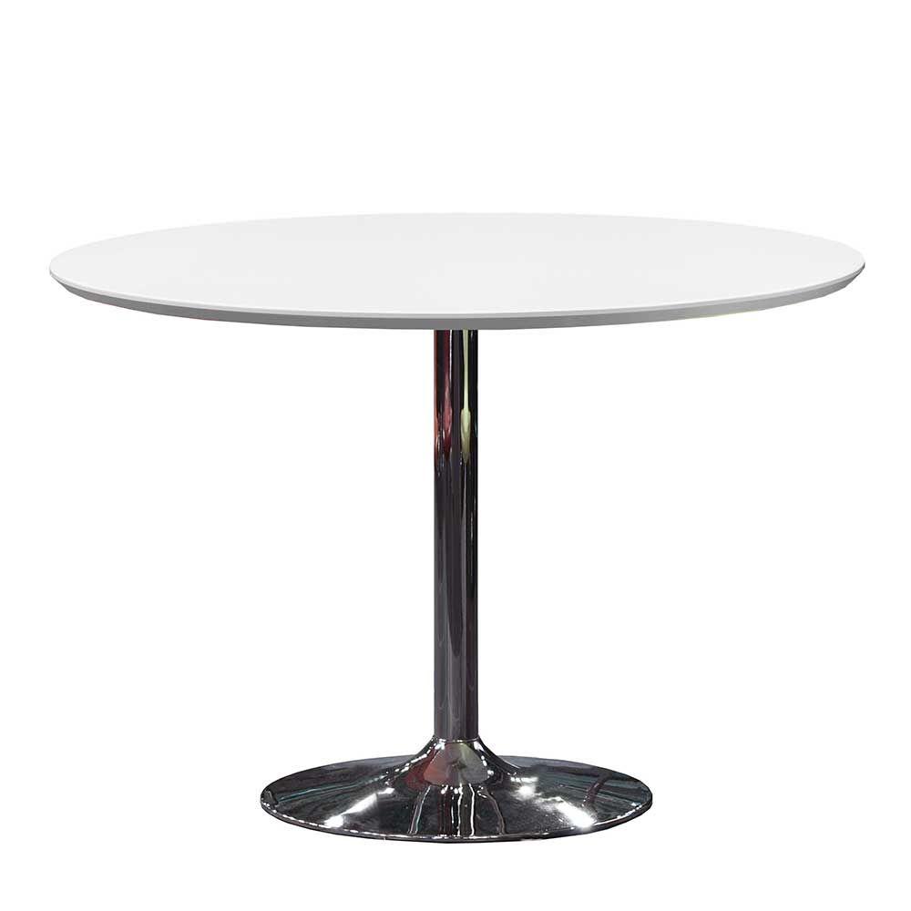 Retro Tisch in Weiß Chrom Rund küchentisch,eßtisch,esstisch ...