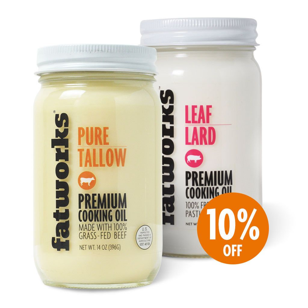 Combo Pack Grass Fed Beef Tallow 14 Oz Pasture Raised Leaf Lard 14 Oz Beef Tallow Grass Fed Beef Lard